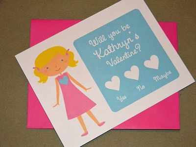 Valentine Card Personalized Girl Flat Note Cards Set of 16 Hope Loves Cards