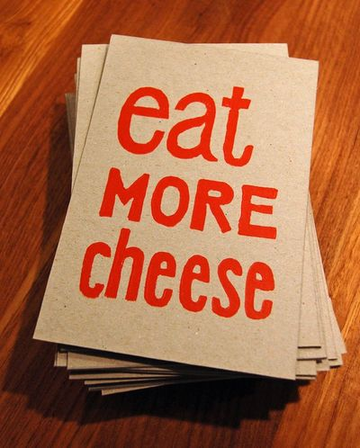 Eat More Cheese - Lino Print