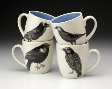 Set of 4 Mugs: Black Birds