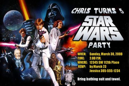Star Wars Invitations Custom Designed with your childs information original movie style