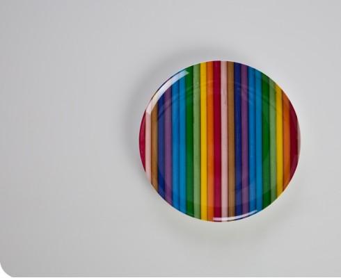 Colour Stripe Melamine Plate
